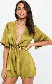Chartreuse Satin Tie Front Kimono Sleeve Playsuit