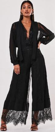 Chiffon Lace Trim Wide Leg Trousers