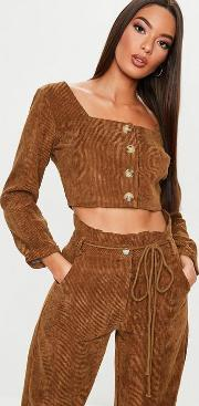 Chocolate Co Ord Cord Button Front Crop Top