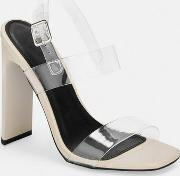 Clear Buckle Heeled Sandals