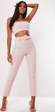 Co Ord Stretch Crepe Belted Cigarette Trousers