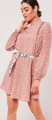 Coral High Neck Ditsy Polka Dot Tea Dress