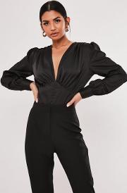 Covered Button Plunge Bodysuit