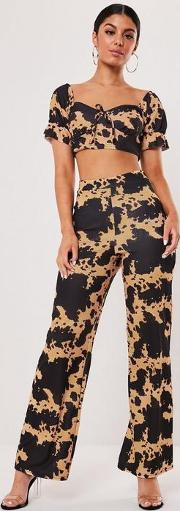 Cow Print Wide Leg Trousers