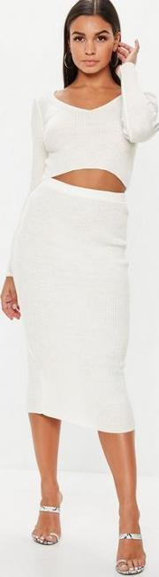 Cream Co Ord Ribbed Knitted Crop Top