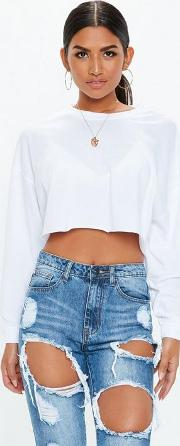 Drop Shoulder Long Sleeve Crop Top