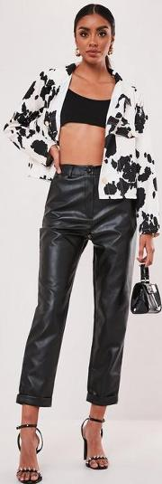 Faux Leather Turn Up Hem Cigarette Trousers