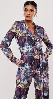 Floral Print Tie Side Satin Shirt