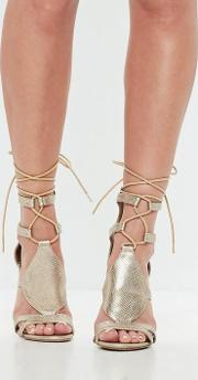 Gold Ankle Tie Gladiator Sandals