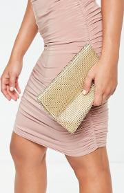 Gold Circular Chainmail Fold Over Clutch Bag