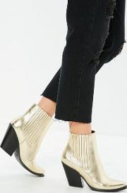 Gold Curved Heel Western Chelsea Ankle Boots