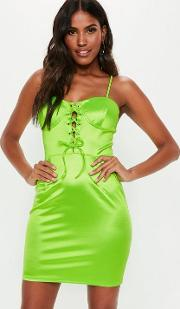 Green Stretchy Satin Lace Up Bodycon Dress