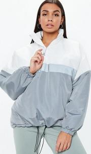 Grey Colourblock Zip Front Jacket