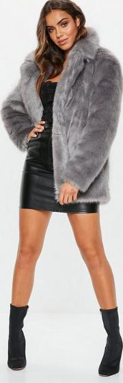 Grey Faux Fur Coat With Collar