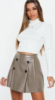 Grey Faux Leather Button Pleated Mini Skirt
