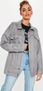 Grey Faux Suede Belted Popper Jacket