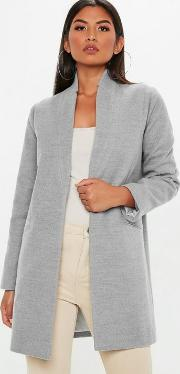 Grey Inverted Collar Formal Coat