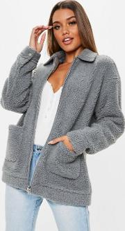 Grey Oversized Borg Zip Through Teddy Jacket