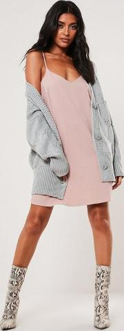 Grey Oversized Slouchy Cable Knit Cardigan