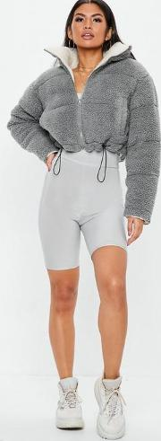 Grey Reversible Borg Cropped Puffer Jacket