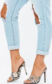 Grey Snake Pointed Toe Mules