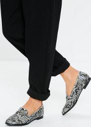 Grey Snake Print Metal Clip Flat Shoes