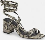 3e94fc55b73 Grey Snake Two Strap Lace Up Mid Heel Sandals. missguided