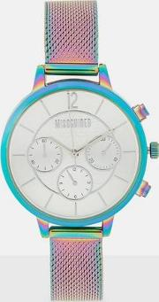 Iridescent Mesh Strap And Dial Watch