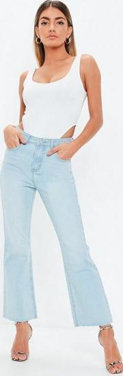 Light Blue Cropped Kickflare Jeans