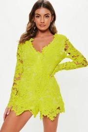 Lime Lace Plunge Long Sleeve Playsuit
