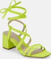 Lime Two Strap Lace Up Mid Heel Sandals