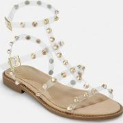 Look Clear Dome Stud Gladiator Sandals
