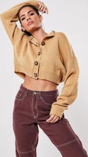 Mock Horn Button Crop Knitted Cardigan