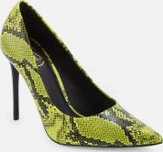 Neon Green Snake Print Court Shoes