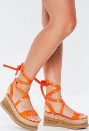 Neon Orange Lace Up Flatform Espadrilles