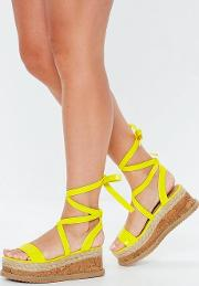 Neon Yellow Lace Up Flatform Espadrilles