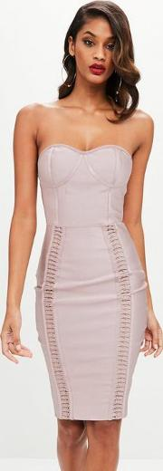 Nude Bandage Bustcup Metal Strap Detail Midi