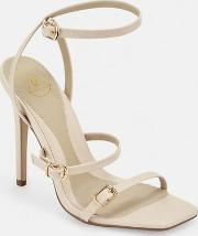 Nude Buckle Three Strap Barely There Heels