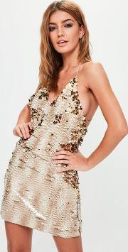 Nude Embellished Strappy Mini Dress