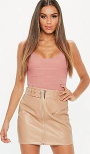 Nude Faux Leather Buckle Detail Mini Skirt