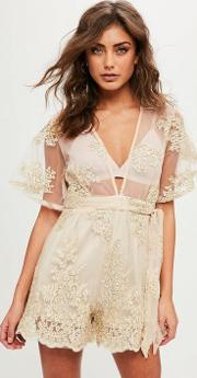 Nude Lace Wide Sleeve Playsuit