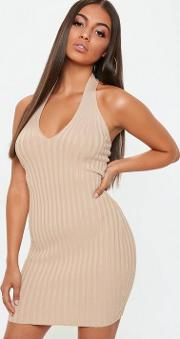 Nude Ribbed Halterneck Knitted Mini Dress