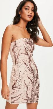 Nude Sequin Bandeau Bodycon Dress