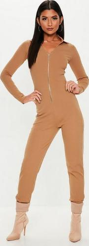 Nude Zip Collar Ribbed Jumpsuit