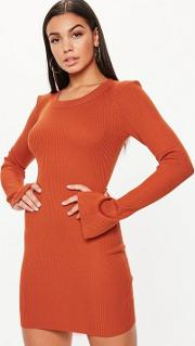 Orange Bodycon Ribbed Knitted Dress