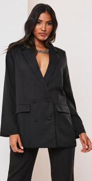 Petite Black Co Ord Double Breasted Oversized Blazer