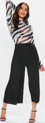 Petite Black Pleated Skinny Tie Belt Culottes