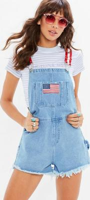 Petite Blue Denim Retro Dungaree Shorts