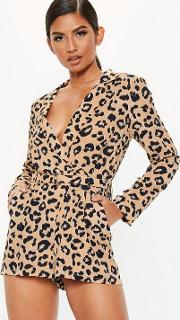 Petite Brown Leopard Print Tailored Playsuit