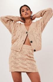 Petite Camel Co Ord Cable Knit Cardigan